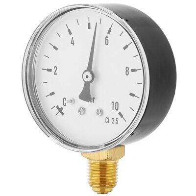 Air Oil Water Pressure Gauge 14 Inch Npt 0-10 Bar Side Mount Manometer New