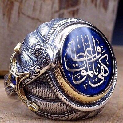 Türkischer Handgemachter Schmuck Edelstein Ringe Silber Herren Ring Größe 7-10 ()