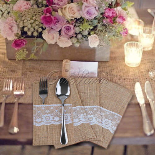 50x Burlap Lace Cutlery Holder Fork Pouch Bag For Wedding Home Flatware Storage