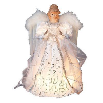 """Kurt Adler 9"""" White Silver Angel Lighted Christmas Tree Topper"""