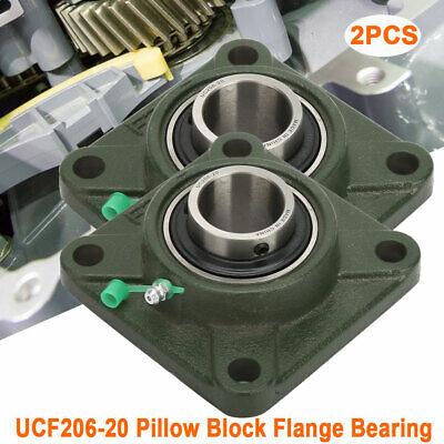 2 Pcs Ucf 206-20 4 Bolt Solid Base Flange Pillow Block Bearing 1 14 Inch Bore