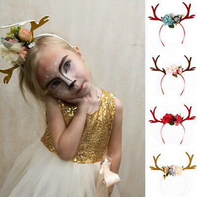 Women Girl Christmas Reindeer Deer Antler Costume Ear Party Hair headband Prop - Reindeer Antler Headband
