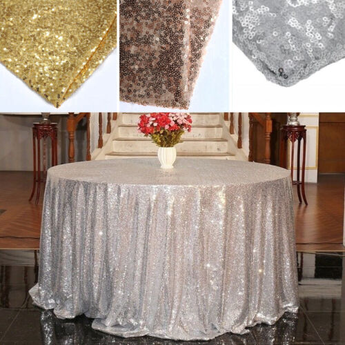 Round Sequin Glitter Tablecloth Sparkly Table Linens Cover W