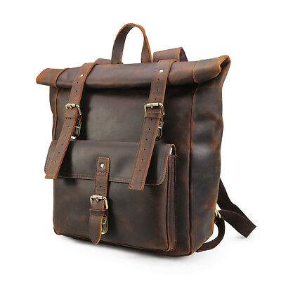 "Retro Men Real Leather 17"" laptop Big Backpack School bag Travel Casual Tote Bag"