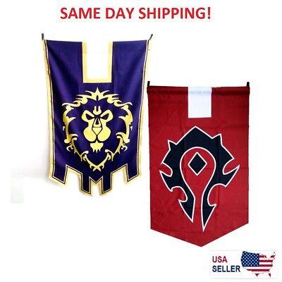 World of Warcraft Horde Alliance Badge Banner Flag Emblem Poster Blue Red (Horde Flag)