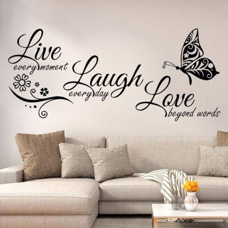 Live Laugh Love Quotes Butterfly Wall Stickers Art Room Deca