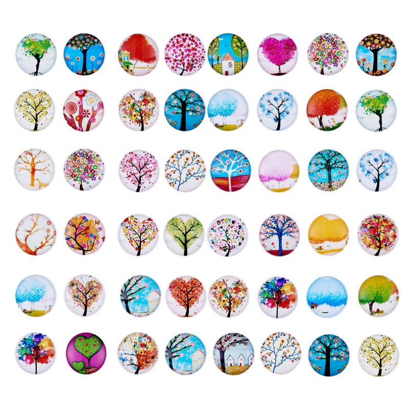 100/200PCS Tree of Life Printed Half Round/Dome Glass Cabochons Jewelry Making