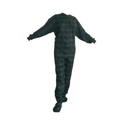 Navy and Green Flannel Adult Footed Pajamas Footie Drop Seat Mens Womens PJs Flannel Footed Pajamas