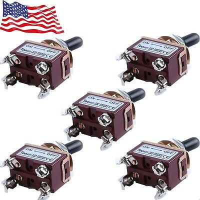 5x Heavy Duty 20a 125v Dpst 4 Terminal Onoff Toggle Switch With Boot Us Seller