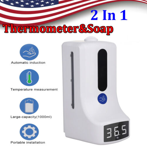US 2 IN 1 Touchless Infrared Wall Mount Thermometer&Soap Liquid Dispenser