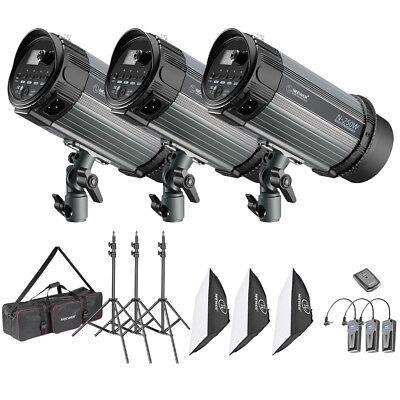 Neewer 3 PACK 250W (750w) Studio Strobe Flash Monolight Photography Lighting Kit