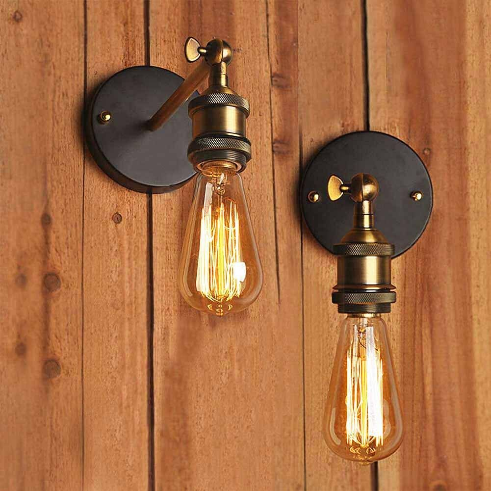 Industrial Wall Light Chrome: Vintage Industrial Sconce Adjustable Iron Metal Wall Lamp