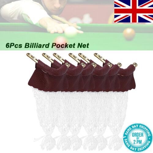 UK 6pcs Standard Pool Billiard Table Snooker Empire Rail Net Pockets Set