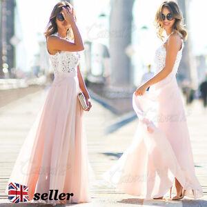 Womens-Sexy-Maxi-Lace-Chiffon-Summer-Dress-Ladies-Party-Evening-Beach-Long-Dress