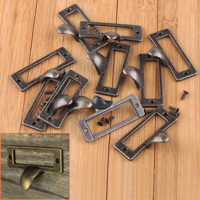 10x Antique Brass Drawer Label Pull Cabinet Frame Handle File Name Card Holder (Label Holder Antique Brass)