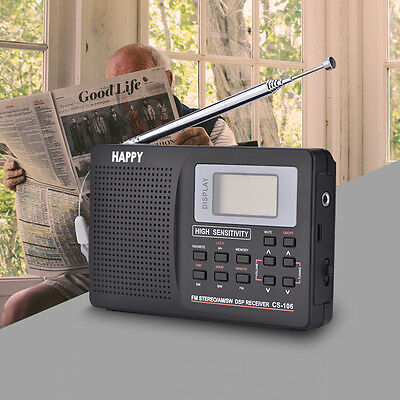 Mini Full Band Stereo FM/MW/SW/LW Radio Digital World Band Receiver Alarm Clock