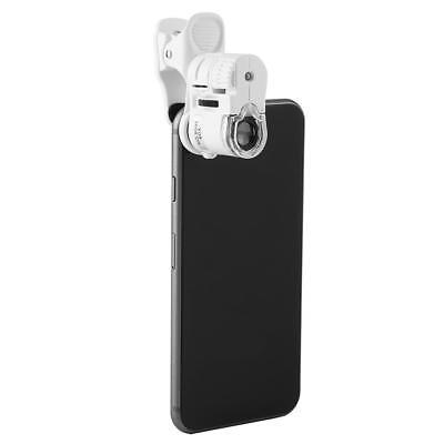60x Universal Mobile Phone Mini Clip Led Uv Light Microscope Magnifier Loupe