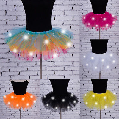Women Girls Light Up LED Tutu Dress Stage Dance Tutu Short Mini Skirt - Led Skirt