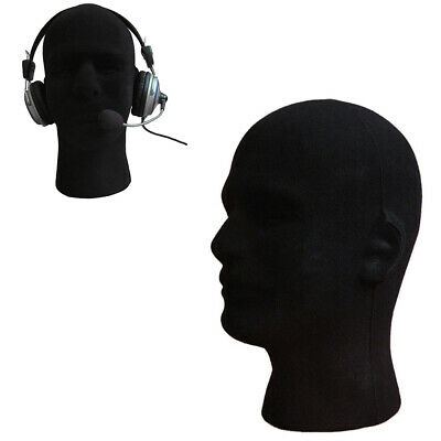 Male Foam Flocking Head Model Glasses Headset Wig Display Tool Mannequin Black