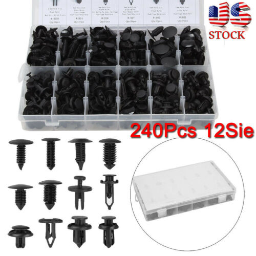 Car Parts - 240pcs Clip Trim Car Body Retainer Push Type Pin Rivet Panel Moulding Assortment