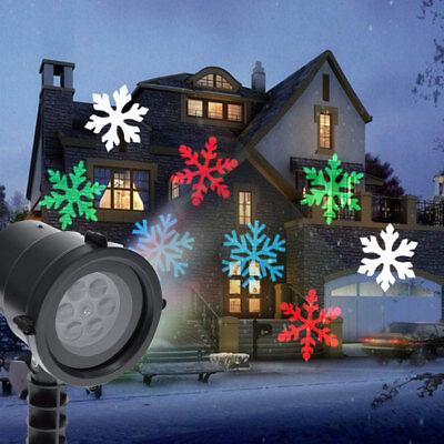 Proiettore Laser LED RGB Natale Esterno Giochi Luce Fiocchi di Neve Multicolore