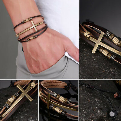 Retro Faux Leather Cross Bracelet Women Men Jewelry Adjustable Rope Chain Little