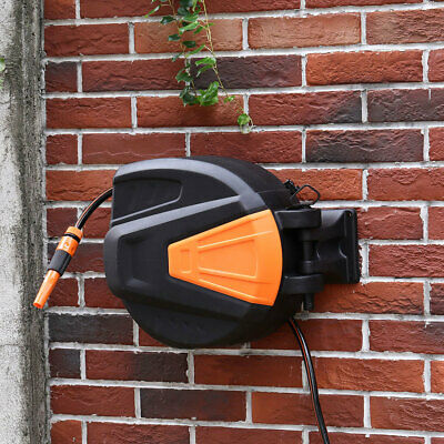 Wall-Mounted Auto Rewind Garden Hose Reel Retractable Water Spray Pipe 20m Long
