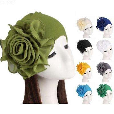 Frauen Haarausfall Turban Kopftuch  Mütze Große Blume Muslim Krebs Chemo Hut DF (Großen Gelben Hut)