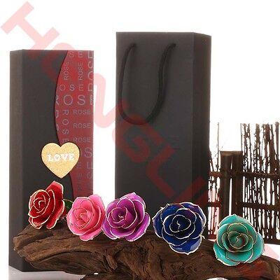11 Long Stem Dipped 24K Gold Foil Trim Real Rose Forever Flower Valentines Gift