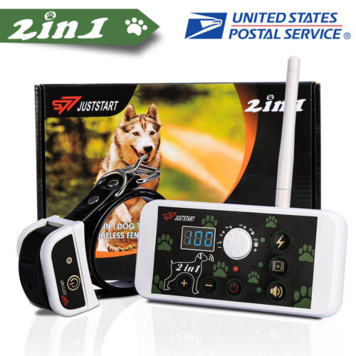 2 in 1 Dog Training Collar Fence Wireless Pet Electric Train