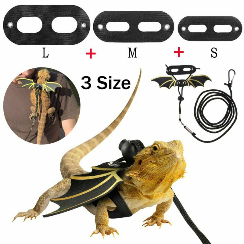 Adjustable Reptile Lizard Leash Bearded Dragon Harness S/M/L Cool Leather Wings