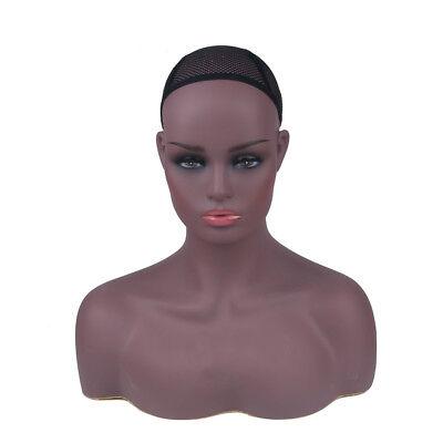 Female Mannequin Head Display Stand Wigs Hats Dark Skin Realistic Sturdy UK