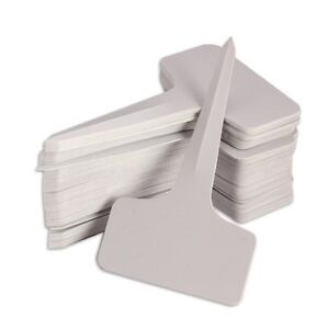100X 6 x10cm Plastic Plant T-type Tags Markers Nursery Garden Labels Gray FK
