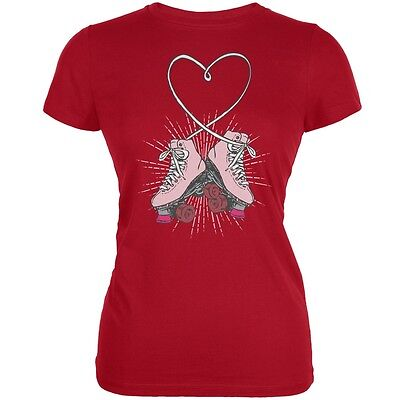 Roller Skate Heart Red Juniors Soft T-Shirt (Heart Skate)
