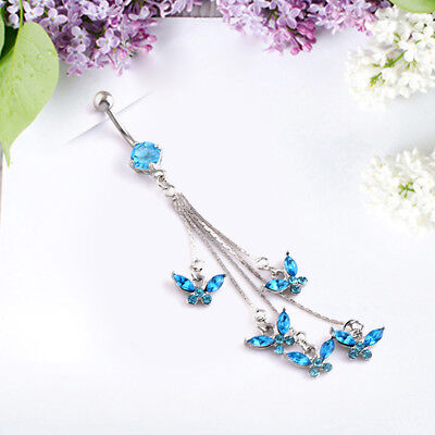 - Crystal Butterfly Butterfly Button Belly Navel Ring Body Piercing Jewelry Fashio
