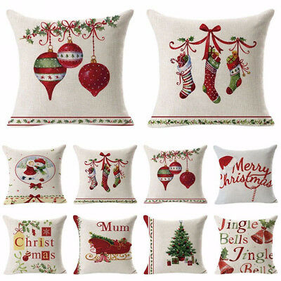 Xmas Linen Pillow Case Throw Waist Soft Cushion Cover Home Sofa Bed Decor New