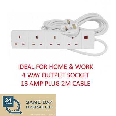New ELPINE 4 Way  2M Extension Lead 13A White Plug Socket