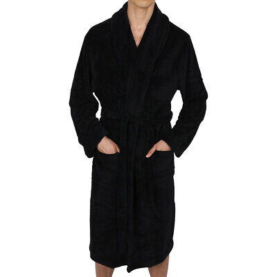 Mens-ROBE -Bathrobe- Shawl or Hood  - Coral Fleece  Heavy Weight USA - Black - Mens Hooded Robes