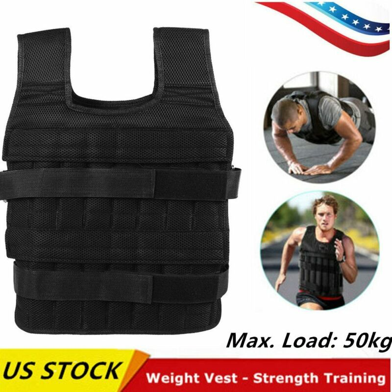 Adjustable Workout Weight 50KG 110LB Weighted Vest Exercise Training Fitness T