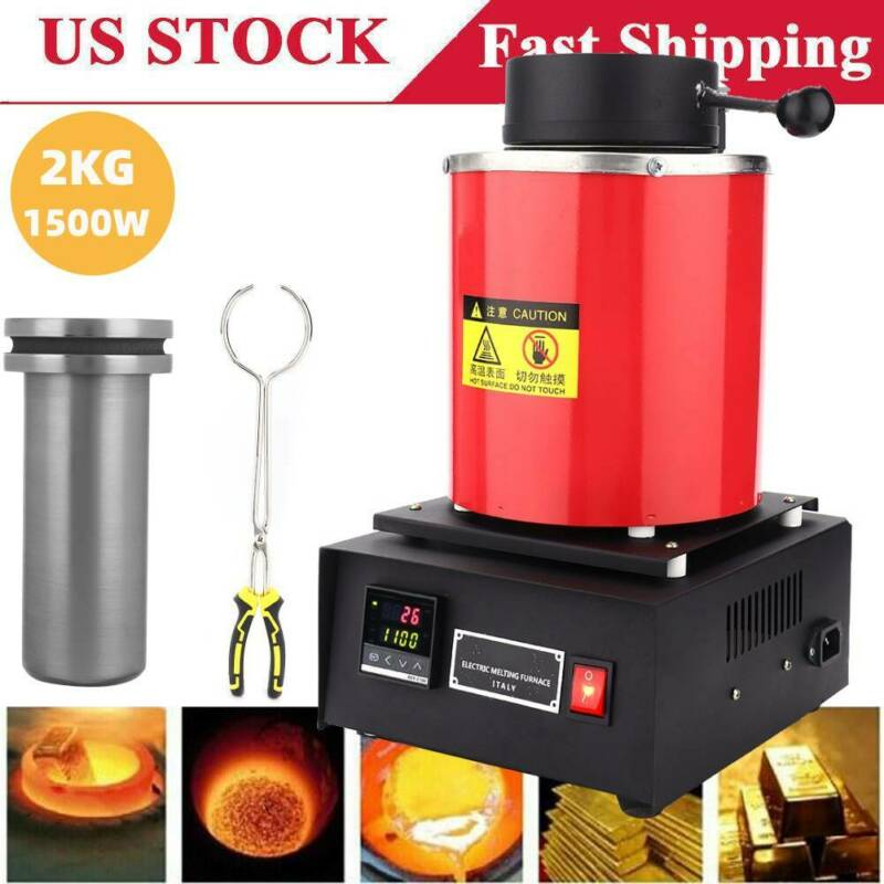 Professional 2KG Electric Melting Furnace Gold Silver Metal Smelter Jewelry Tool