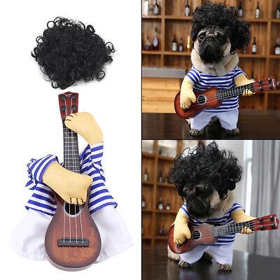 Pet Halloween (Funny Cat Dog Pet Halloween Costume Suit Puppy Prince Cosplay Guitar Prince Coat)