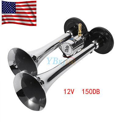 12V 150db Super Loud Dual Trumpet Air Horn Trumpet Car Vehicle Truck Train Boat