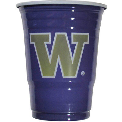 Huskies Cups - Washington Huskies 18 Count 18 Oz Disposable Plastic Game Day Cups NCAA Licensed