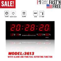Big Red LED Digital Jumbo Wall Calendar Temp Humidity alarm Clock 100V - 240V US