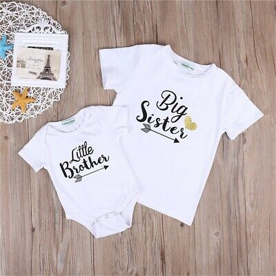 US Baby Boy Little Brother Romper Kids Big Sister T-shirt Top Outfit Clothes