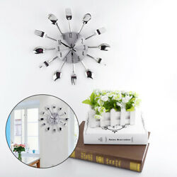 12.4 Modern DIY Wall Mounted Clock Spoon & Fork Cutlery 3D Kitchen Living Room