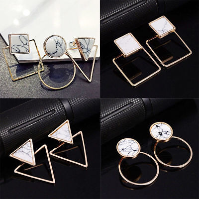 Lady Geometric Round Triangle Square Marble Pattern Earrings Punk Ear Stud (Triangle Gift)