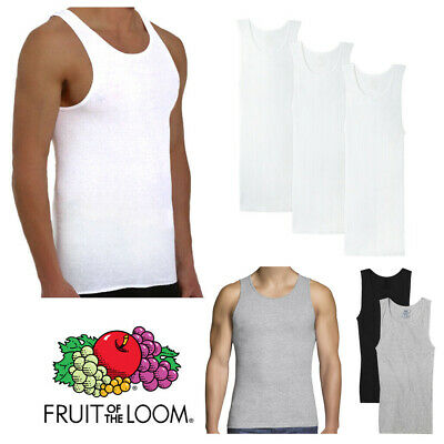 Fruit Of The Loom Men's 3 Pack Tank Top Tag-Free Cotton Athletic A-Shirts Clothing, Shoes & Accessories