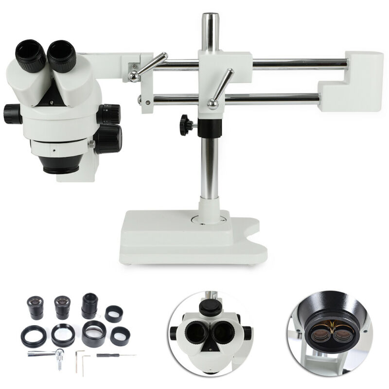 3.5X-90X Simul-Focal Zoom Trinocular Stereo Microscope w/ Dual Arm Boom Stamd