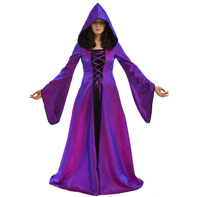 Hooded Renaissance Dress (Retro Victorian Hooded Gown Dress 2 Colors Renaissance Medieval Trumpet)
